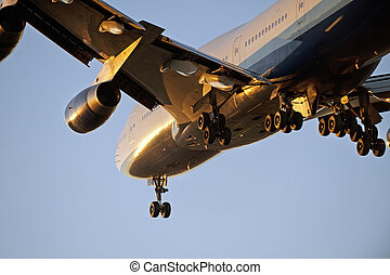 Aircraft Boeing 747 landing in Vancouver, Canada