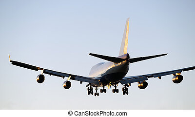 Aircraft Boeing 747 landing in Vancouver