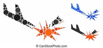 Aircraft bomb explosion Composition Icon of Spheric Items -...