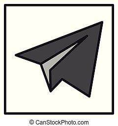 Aircraft Button Icon Vector. Telegram icon.