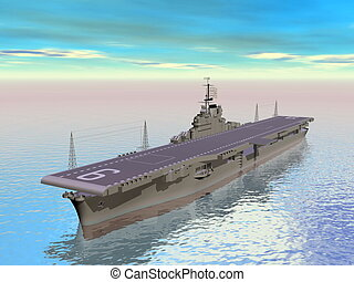 Aircraft carrier - 3D render - Aircraft carrier floating on...