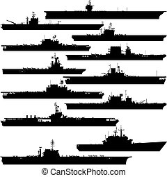 Aircraft carrier - Contour image of aircraft carriers. ...