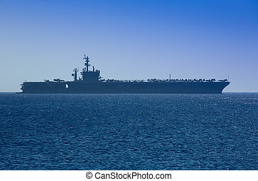 Aircraft Carrier docked outside Rhodes, Greece