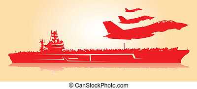 Aircraft carrier. - Huge aircraft carrier with fighter jets.
