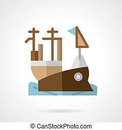 Aircraft carrier flat color vector icon - Flat color design...