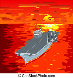 Aircraft carrier floating on waves with plane flying up from it a vector illustration