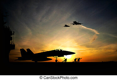 Aircraft carrier - Military aircraft before take-off from...