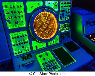 Aircraft carrier navigation equipment. USS Midmay museum