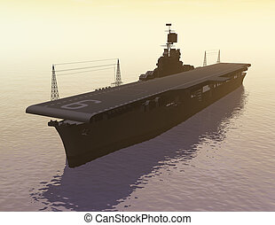 Aircraft Carrier - Digital Illustarion of an Aircraft...