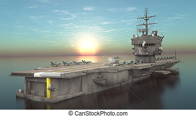 Aircraft carrier - 3D CG rendering of the aircraft carrier