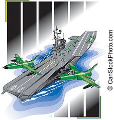 Aircraft Carrier US Navy - Vector Naval aircraft carrier,...