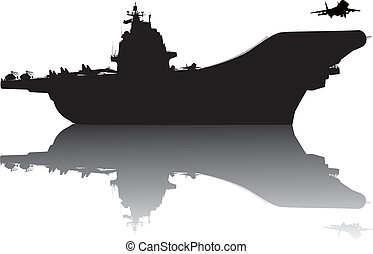 Aircraft carrier vector silhouette with reflection