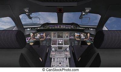 Aircraft cockpit, high-tech dashboard, Pilots operating plane.
