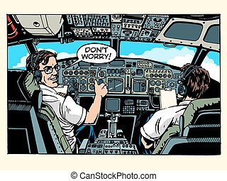 Aircraft cockpit pilots airplane captain pop art retro...