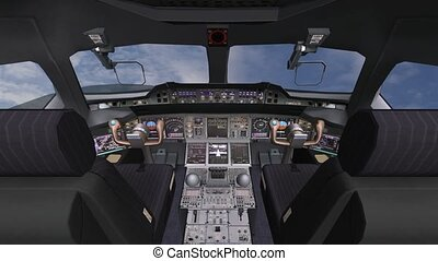 Aircraft cockpit,high-tech dashboard,Pilots operating plane.