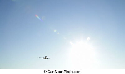 Aircraft Crossing the Sky - Commercial airliner on flight....