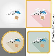 aircraft delivery flat icons vector illustration
