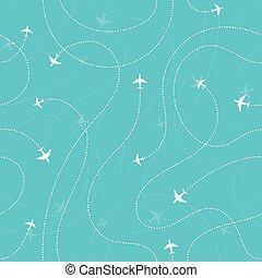 Aircraft destinations dark seamless background
