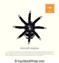 Aircraft engine in realistic style. Motor with propeller on white background