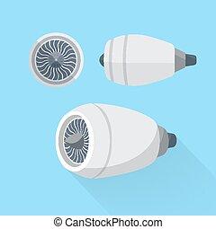 Aircraft engine unit turbine set. Flat illustration.
