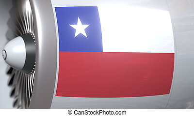 Aircraft engine with flag of Chile, Chilean air transportation related 3D rendering