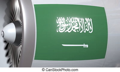 Aircraft engine with flag of Saudi Arabia, Saudi air...