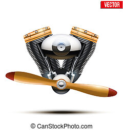 Aircraft engine with propeller. Vector Illustration.
