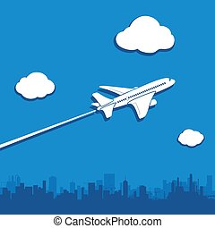 Aircraft flies in the sky above the city.