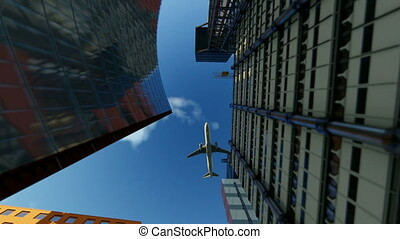 Aircraft flying above office buildings, travel camera