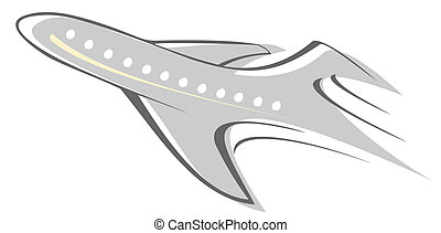 Aircraft - Flying airliner - stylized vector illustration....