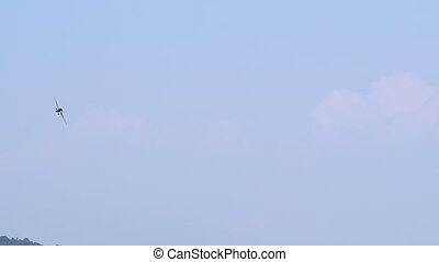 Aircraft flying on blue sky and clouds. Aircraft landing.