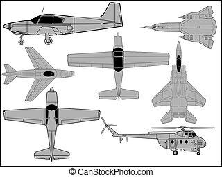 Aircraft - High detailed illustration of various aircraft