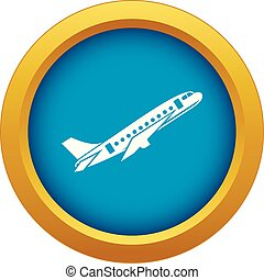 Aircraft icon blue vector isolated