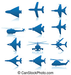 Aircraft icons - Collection of icons on a theme aircraft. A...