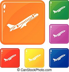 Aircraft icons set vector color