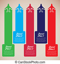 Aircraft illustrations with colored stripes, travel plans,...