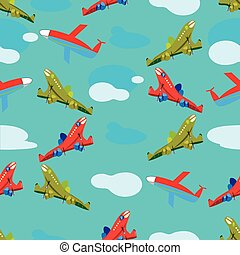 aircraft in flight seamless pattern