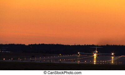 Aircraft in sunset in Sweden