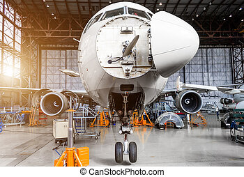 Aircraft in the hangar on the C check