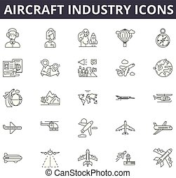 Aircraft industry line icons. Editable stroke signs. Concept icons: aviation, jet, airplane, aerial transport, flight etc. Aircraft industry  outline illustrations