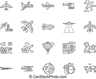 Aircraft industry line icons, signs, vector set, outline illustration concept
