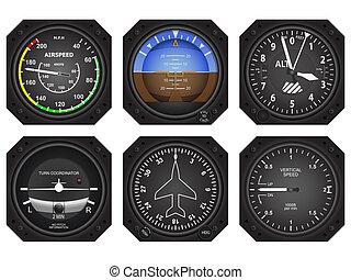 Set of six aircraft avionics instruments. Eps 10 vector illustration