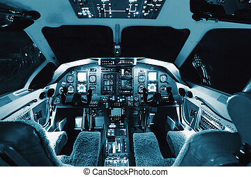 Aircraft interior, cockpit view inside the airliner