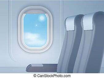 Aircraft interior with realistic smooth window and seats vector illustration.