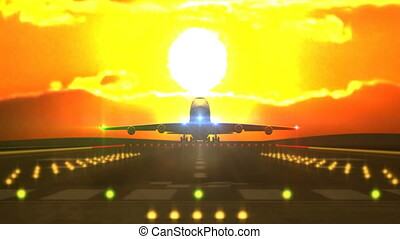 Aircraft landing in front of sunset - Front view of large...