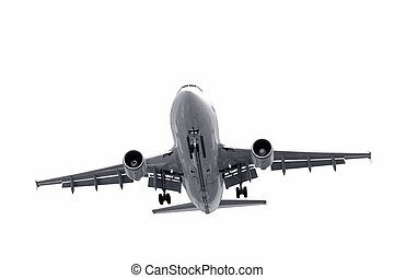 aircraft landing - isolated jet aircraft on landing approach