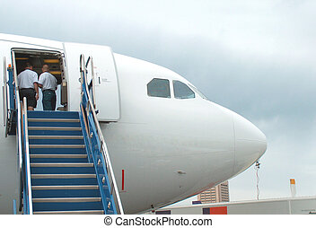 Aircraft Nose - The nose of a jetliner, with air stairs and...
