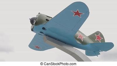 Aircraft of the second world war. World War II era heavy bomber seen from below