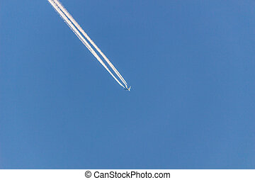 Aircraft on blue sky background