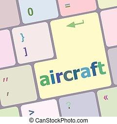aircraft on computer keyboard key enter button vector illustration